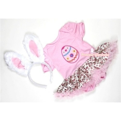 Light Pink Baby Jumpsuit Light Pink Leoaprd Pettiskirt With Easter Egg Print With White Rabbit Headband JS301