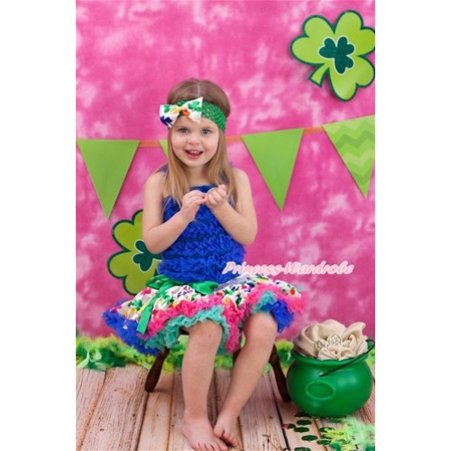Royal Blue Ruffles Tank Top with Rainbow Clover Pettiskirt MR248
