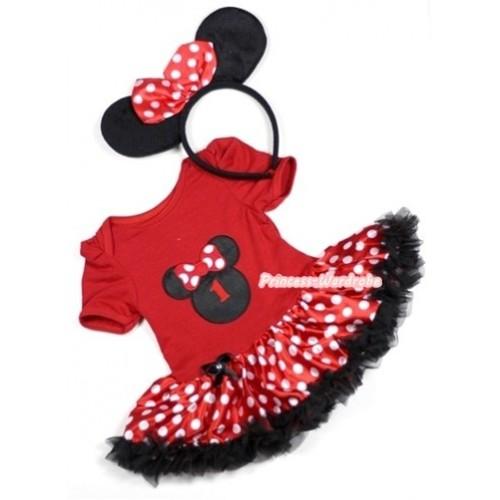 Red Baby Jumpsuit Minnie Dots Pettiskirt With 1st Birthday Number Minnie Print With Minnie Headband JS309