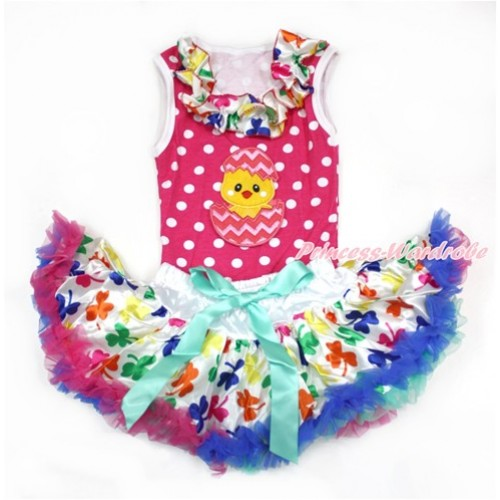 Easter Hot Pink White Dots Baby Pettitop with Rainbow Clover Satin Lacing with Chick Egg Print with Rainbow Clover Newborn Pettiskirt NP051