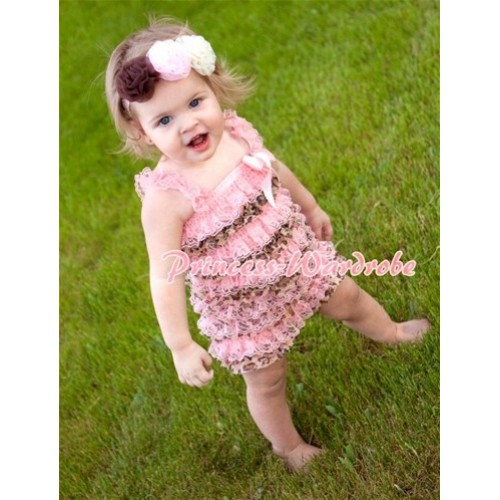 Light Pink Leopard Layer Chiffon Romper with Light Pink Bow & Straps LR67