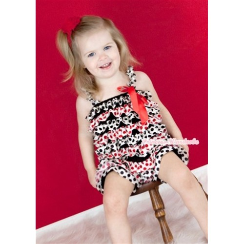 Red Black Polka Dots Petti Romper with Red Bow & Straps LR128