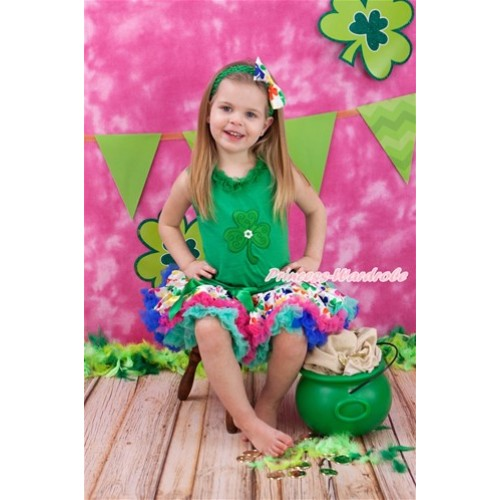 St Patrick's Day Kelly Green Tank Top With Kelly Green Chiffon Lacing With Clover Print with Rainbow Clover Pettiskirt MH162