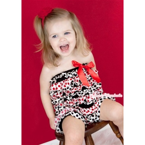 Red Black Polka Dots Petti Romper with Red Bow LR126