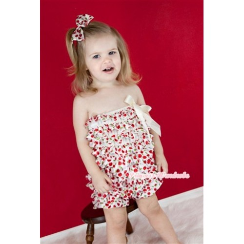 White Cherry Petti Romper with White Bow and Red Headband White Cherry Satin Bow Set RH97