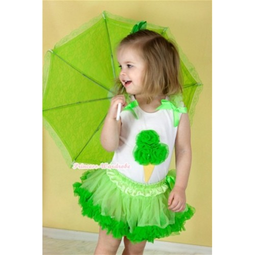 White Baby Pettitop with Dark Green Rosettes Ice Cream Print with Light Green Ruffles & Dark Green Bow with Light Dark Green Newborn Pettiskirt NN54