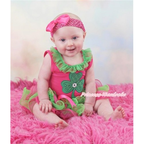 St Patrick's Day Hot Pink Baby Pettitop with Kelly Green Chiffon Lacing with Clover Print with Hot Pink Bow Hot Pink Kelly Green Petal Newborn Pettiskirt NG1426