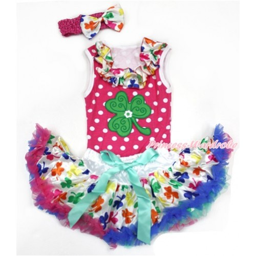 St Patrick's Day Hot Pink White Dots Baby Pettitop with Rainbow Clover Satin Lacing with Clover Print & Rainbow Clover Newborn Pettiskirt With Hot Pink Headband Rainbow Clover Satin Bow NP058