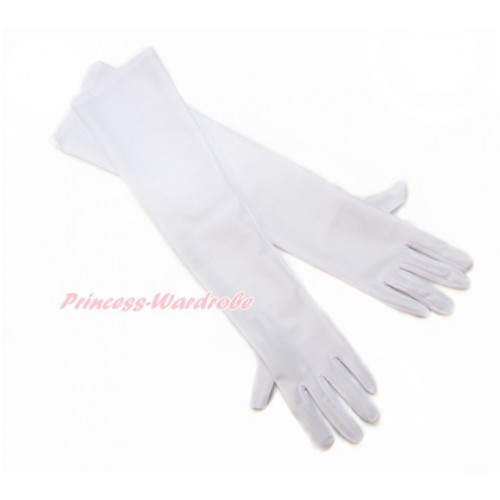 Pure White Wedding Elbow Length Princess Costume Long Satin Gloves C217
