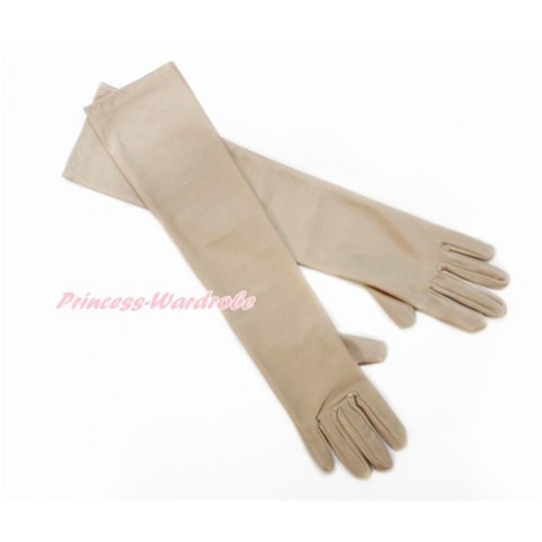 Nude Wedding Elbow Length Princess Costume Long Satin Gloves C219