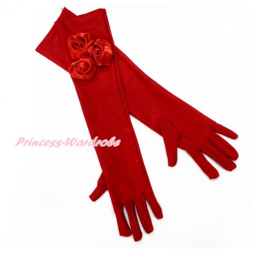 Red Wedding Elbow Length Princess Costume Long Satin Dress Gloves with Red Rosettes C221