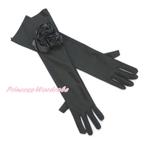 Black Wedding Elbow Length Princess Costume Long Satin Dress Gloves with Black Rosettes C223