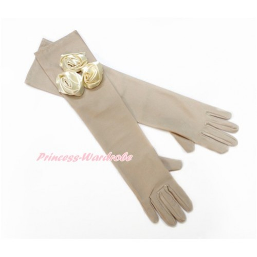 Nude Wedding Elbow Length Princess Costume Long Satin Dress Gloves with Goldenrod Rosettes C224