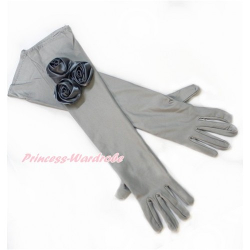 Grey Wedding Elbow Length Princess Costume Long Satin Dress Gloves with Grey Rosettes C225