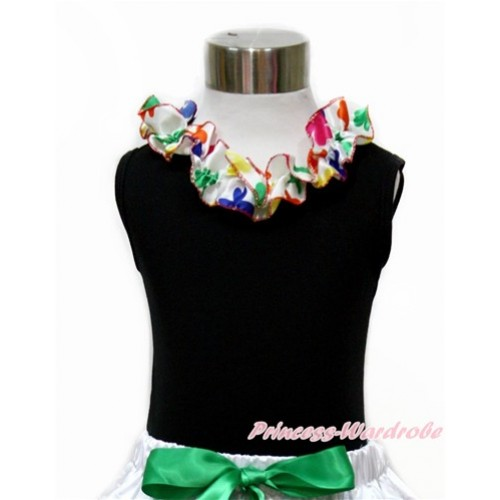 Black Tank Top with Rainbow Clover Satin Lacing TB680