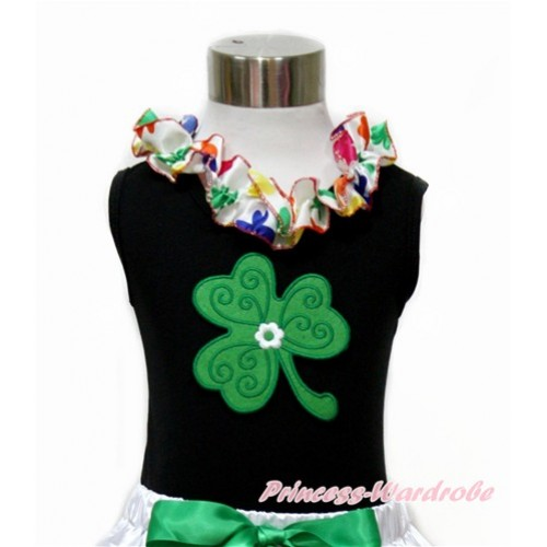 St Patrick's Day Black Tank Top With Rainbow Clover Satin Lacing With Clover Print TB681