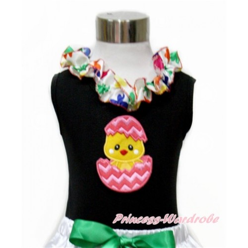 Easter Black Tank Top With Rainbow Clover Satin Lacing With Chick Egg Print TB684