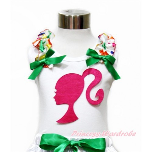 White Tank Top With Rainbow Clover Ruffles & Kelly Green Bow With Hot Pink Barbie Princess Print TB692