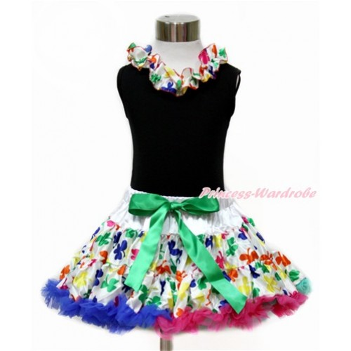 Black Tank Top with Rainbow Clover Satin Lacing with Rainbow Clover Pettiskirt MG1070