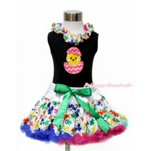 Easter Black Tank Top with Rainbow Clover Satin Lacing with Chick Egg Print & Rainbow Clover Pettiskirt MG1074