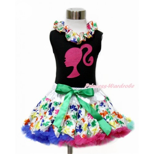 Black Tank Top with Rainbow Clover Satin Lacing with Hot Pink Barbie Princess Print & Rainbow Clover Pettiskirt MG1075