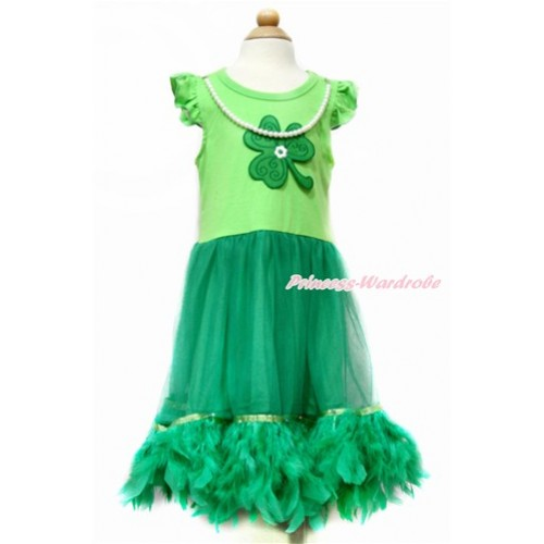 St Patrick's Day Little White Wing with Kelly Green Pearl ONE-PIECE Petti Dress & Clover Print with Kelly Green Posh Feather LP40