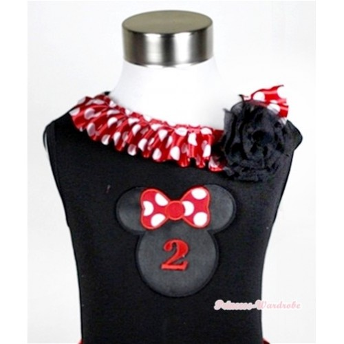 Black Tank Tops with 2nd Birthday Number Minnie Print with Minnie Dots Satin Lacing & One Black Rose TB337