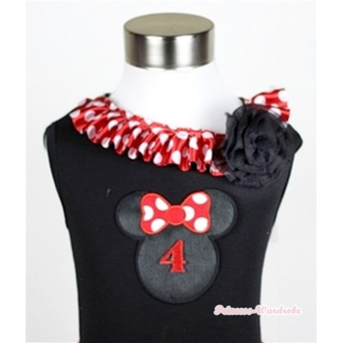 Black Tank Tops with 4th Birthday Number Minnie Print with Minnie Dots Satin Lacing & One Black Rose TB339