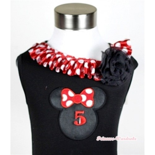 Black Tank Tops with 5th Birthday Number Minnie Print with Minnie Dots Satin Lacing & One Black Rose TB340