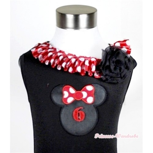 Black Tank Tops with 6th Birthday Number Minnie Print with Minnie Dots Satin Lacing & One Black Rose TB341