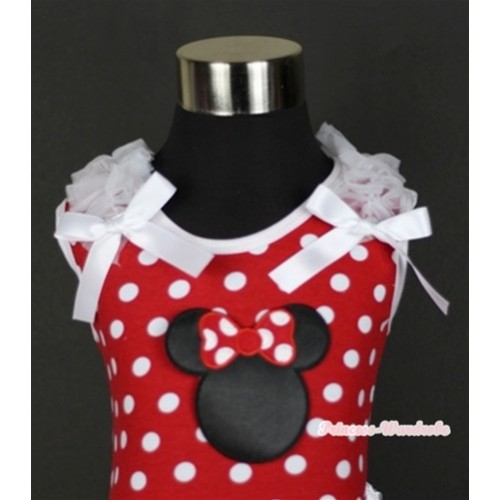 Minnie Dots Tank Top With Minnie Print with White Ruffles & White Bow TP137