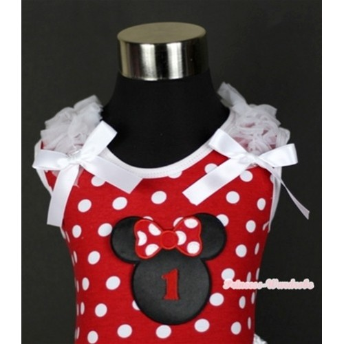 Minnie Dots Tank Top With 1st Birthday Number Minnie Print with White Ruffles & White Bow TP138