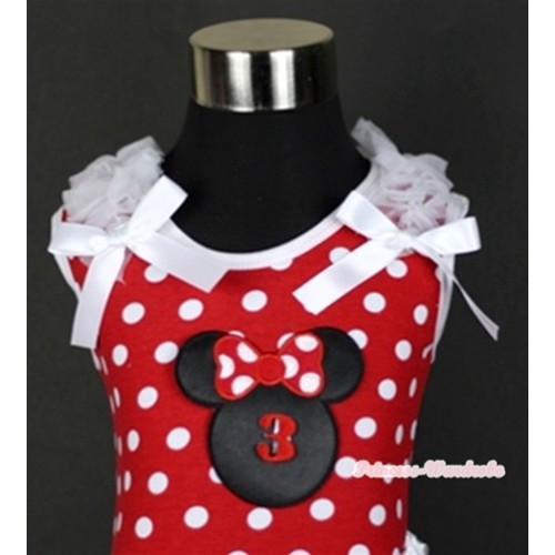 Minnie Dots Tank Top With 3rd Birthday Number Minnie Print with White Ruffles & White Bow TP140