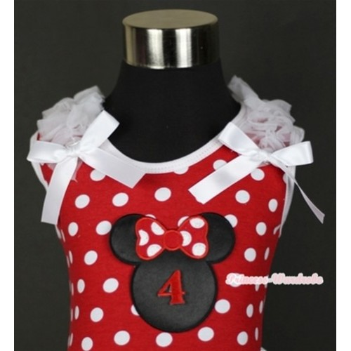 Minnie Dots Tank Top With 4th Birthday Number Minnie Print with White Ruffles & White Bow TP141