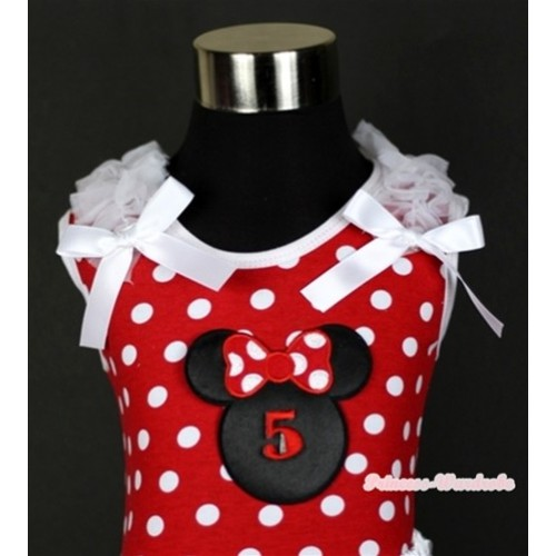 Minnie Dots Tank Top With 5th Birthday Number Minnie Print with White Ruffles & White Bow TP142