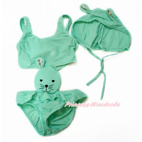 Easter Aqua Blue Bunny Rabbit Swimming Suit with Cap SW71