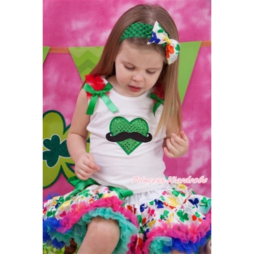 Valentine's Day White Tank Top with Red Ruffles & Kelly Green Bow with Mustache Sparkle Kelly Green Heart Print & Rainbow Clover Pettiskirt MG1084