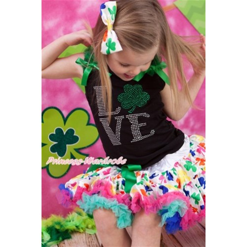 St Patrick's Day Black Tank Top with Kelly Green Ruffles & Kelly Green Bow with Sparkle Crystal Bling Rhinestone Love Clover Print & Rainbow Clover Pettiskirt MG1085