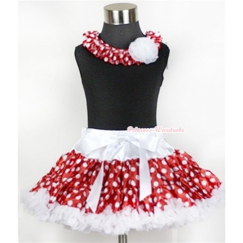 Black Tank Top With Minnie Polka Dots Satin Lacing & One White Rose With White Minnie Polka Dots Pettiskirt MG17