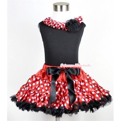 Black Tank Top With Minnie Polka Dots Satin Lacing & One Black Rose With Minnie Polka Dots Pettiskirt MG18