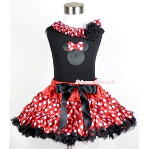 Black Tank Top with Minnie Print with Minnie Dots Satin Lacing & One Black Rose With Minnie Polka Dots Pettiskirt MW204