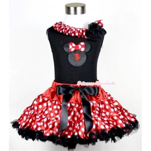 Black Tank Top with 3rd Birthday Number Minnie Print with Minnie Dots Satin Lacing & One Black Rose With Minnie Polka Dots Pettiskirt MG207