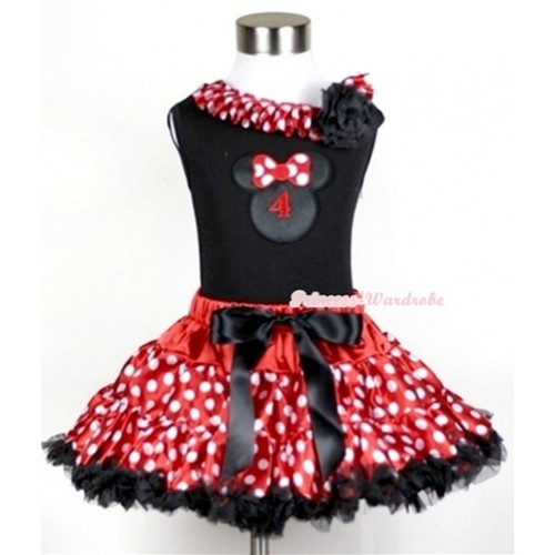 Black Tank Top with 4th Birthday Number Minnie Print with Minnie Dots Satin Lacing & One Black Rose With Minnie Polka Dots Pettiskirt MG208