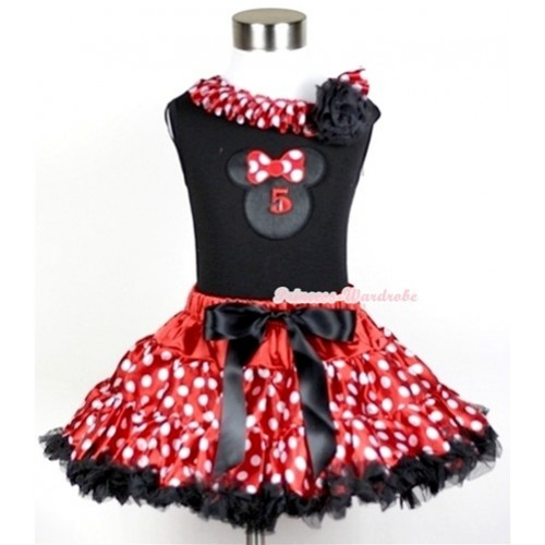 Black Tank Top with 5th Birthday Number Minnie Print with Minnie Dots Satin Lacing & One Black Rose With Minnie Polka Dots Pettiskirt MG209