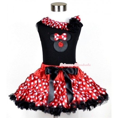 Black Tank Top with 6th Birthday Number Minnie Print with Minnie Dots Satin Lacing & One Black Rose With Minnie Polka Dots Pettiskirt MG210