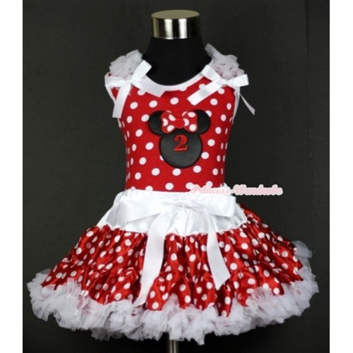 Minnie Dots Tank Top with 2nd Birthday Number Minnie Print with White Ruffles & White Bow & White Minnie Polka Dots Pettiskirt MH069