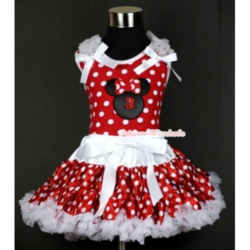 Minnie Dots Tank Top with 3rd Birthday Number Minnie Print with White Ruffles & White Bow & White Minnie Polka Dots Pettiskirt MH070