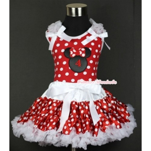 Minnie Dots Tank Top with 4th Birthday Number Minnie Print with White Ruffles & White Bow & White Minnie Polka Dots Pettiskirt MH071