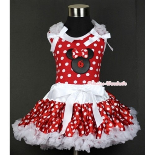 Minnie Dots Tank Top with 6th Birthday Number Minnie Print with White Ruffles & White Bow & White Minnie Polka Dots Pettiskirt MH073