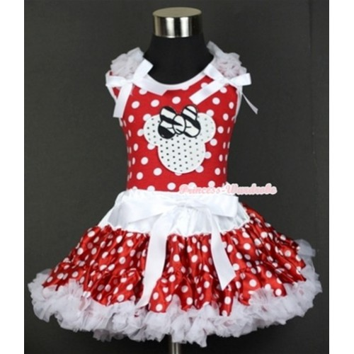 Minnie Dots Tank Top with Sparkle White Minnie Print with White Ruffles & White Bow & White Minnie Polka Dots Pettiskirt MH074